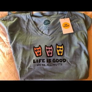 Life is Good SS V-neck tee